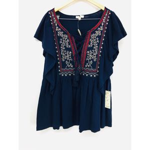 NWT ODDY Navy Flutter Sleeve Rayon Blouse Size 3X
